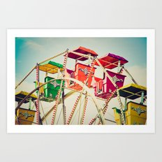 Colorful Ferris Wheel Cars Art Print