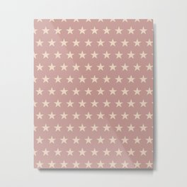 Ancient rose stars on peony pink background Metal Print