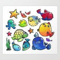 Uderwater Friends Art Print