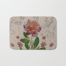 SHABBY CHIC CORAL ANTIQUE PINK ROSES Bath Mat
