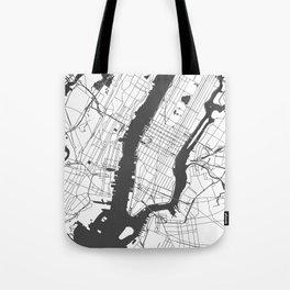 New York City White on Gray Street Map Tote Bag