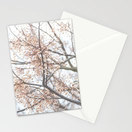 Tree with coral berries and flowers Stationery Cards