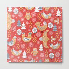 Fairy forest, deer, owls, foxes. Decorative pattern in Scandinavian style on a red background. Folk Metal Print