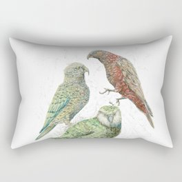 Three native parrots of New Zealand Rectangular Pillow