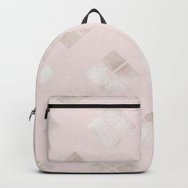 Modern Elegant Pale Pink Gold Geometric Backpack