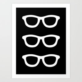 Smart Glasses Pattern - White on Black Art Print