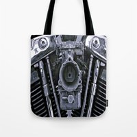 motorcycle Tote Bags featuring MOTORCYCLE  by ALX RUTECKI