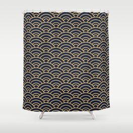 Japanese Wave Pattern  Shower Curtain