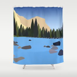 Yosemite Illustration Shower Curtain
