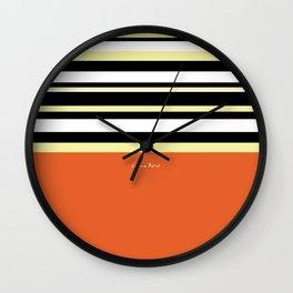 Stripes - black white yellow on orange background (2018 04 01) Wall Clock