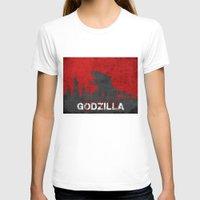 godzilla T-shirts featuring Godzilla by WatercolorGirlArt