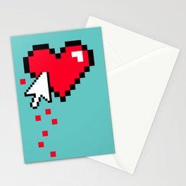 Broken 8 bits Heart Stationery Cards