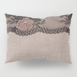 Taupe Linen, Pink and Black Lace Pillow Sham