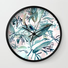 "G. Hand painted watercolor art ""Botanical Illusion"" Wall Clock"