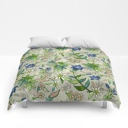 Alpine Flowers - Gentian, Edelweiss Comforters