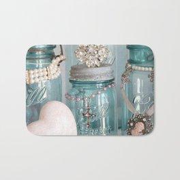 Vintage Mason Jars Shabby Chic Cottage Jeweled Decor Bath Mat