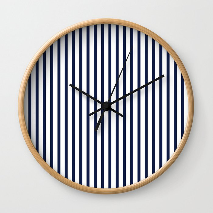 Navy Blue Vertical Stripes Wall Clock