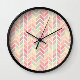 Pastel Chevron Geometric Pattern Wall Clock