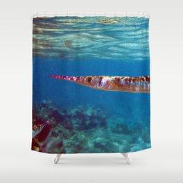 Watercolor Fish Flat Needlefish, The Needler Shower Curtain