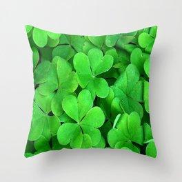 Lucky Four Leaf Clover Throw Pillow