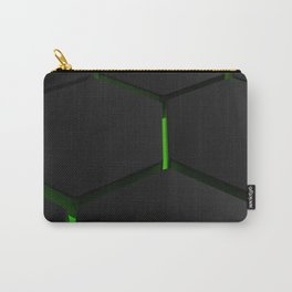 Futuristic hexagons on green backlight Carry-All Pouch