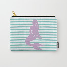 Mermaid & Stripes - Lavender / Aqua Carry-All Pouch