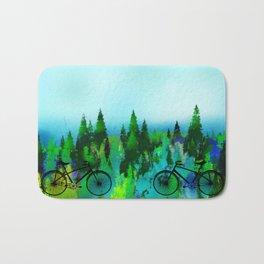 Biking in the Forest Bath Mat
