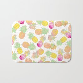 Tropical neon pink teal watercolor faux gold glitter pineapple Bath Mat