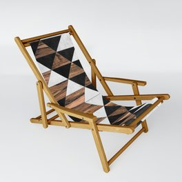 Urban Tribal Pattern No.9 - Aztec - Concrete and Wood Sling Chair