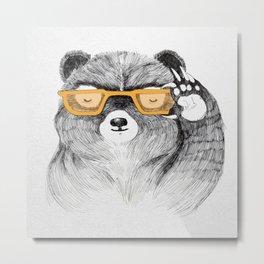 Hipster Bear Metal Print