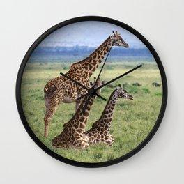 Majestic Giraffe Family Relaxing in Kenya, Africa Wall Clock
