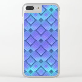 Aqua/Lilac Criss-Cross Clear iPhone Case