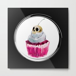 Cherry Skull Cupcake Metal Print