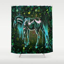 Teal Love Horse Shower Curtain