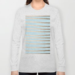 Abstract Drawn Stripes Gold Tropical Ocean Sea Turquoise Long Sleeve T-shirt