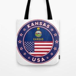 Kansas, Kansas t-shirt, Kansas sticker, circle, Kansas flag, white bg Tote Bag