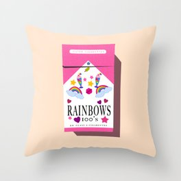 Smoking Rainbows Throw Pillow