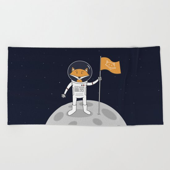 The Fox on the Moon Beach Towel