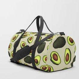 Dancing Millennial Avocados on Beige, Ditsy print Duffle Bag