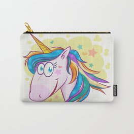 unicorn face cartoon on background Carry-All Pouch