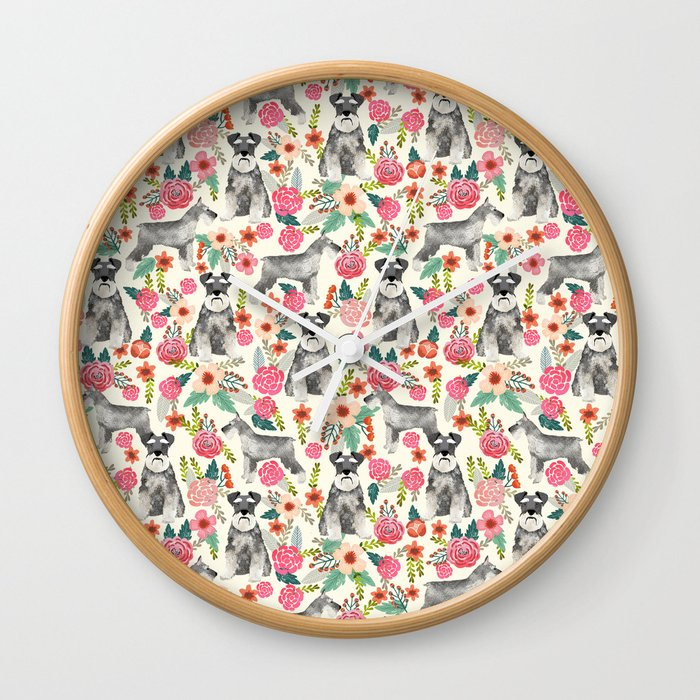 Schnauzer florals dog must have gifts for schnauzers pure breed Wall Clock