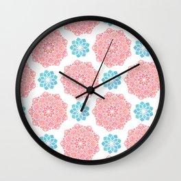 Mandala Red Turquoise Pattern Wall Clock