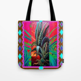 COLORFUL DESERT AGAVE CACTUS PAINTING Tote Bag