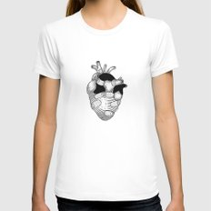 The strongest hearts have the most scars MEDIUM Womens Fitted Tee White