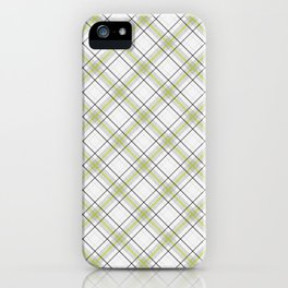 Diagonal tartan gray and yellow over white iPhone Case