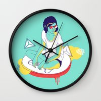spaceship Wall Clocks featuring Spaceship by Eugenia Perez