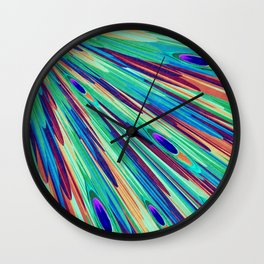 Peacock feather abstraction Wall Clock