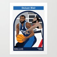 blair waldorf Art Prints featuring DeJuan Blair by Everyplayerintheleague