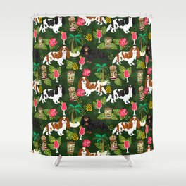 Cavalier King Charles Spaniel tiki hawaiian island tropical dog breed pattern dogs Shower Curtain