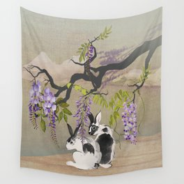 Two Rabbits Under Wisteria Tree Wall Tapestry